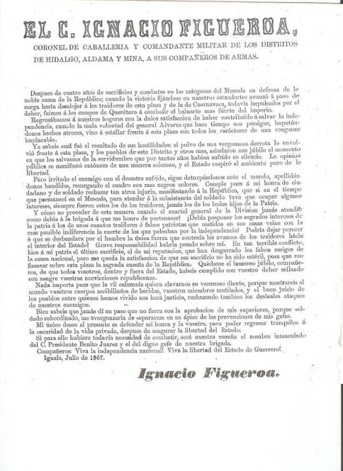 Documentos del General Figueroa 1867....